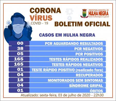 Hulha Negra registra o sexto caso de contaminação do novo coronavírus (covid-19)