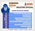 Hulha Negra registra o 7º caso positivo para o novo coronoravírus (covid-19)