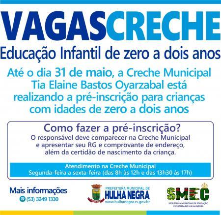 Hulha Negra abre vagas para educação infantil de zero a dois anos